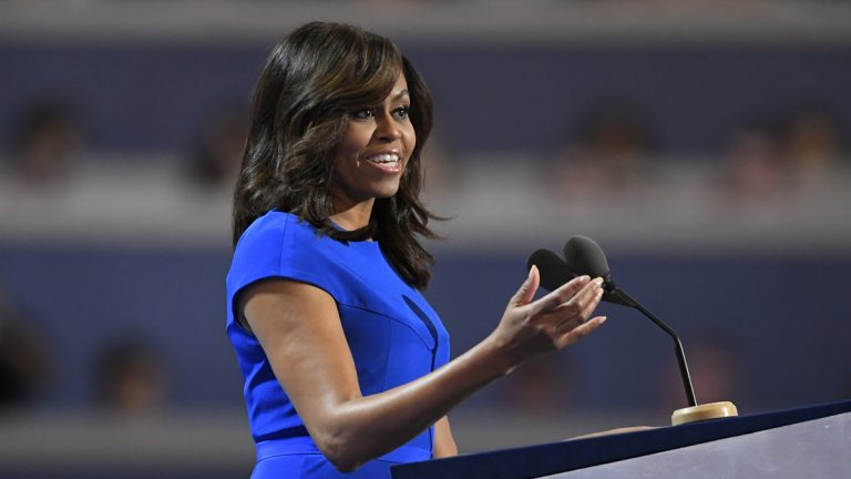 First Lady Michelle Obama speaks during the first day of the Democratic National Convention in Philadelphia