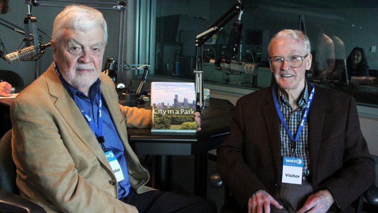 Lynn Miller (left) and Jim McClelland talk with WHYY's Dave Heller about their book