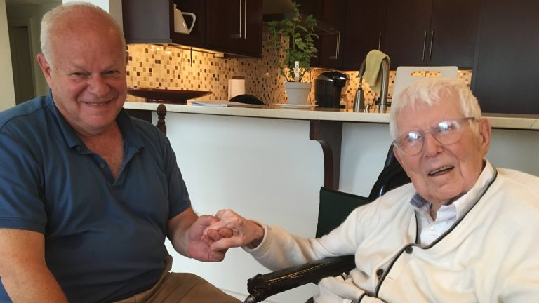 Martin Seligman (left) and Aaron Beck (right) meet inside Beck's apartment about once a month (Elana Gordon/WHYY)
