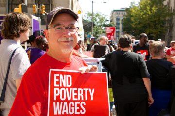 Michael Whitehead from Chester County took the day off work, without pay, to join fast food workers protesting in Philadelphia, September 2014. (Nathaniel Hamilton/for NewsWorks)