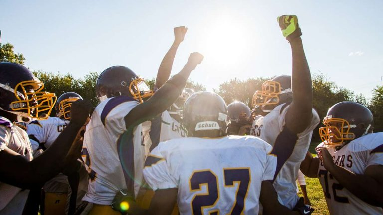 A scene from MLK High's historic season. (Brad Larrison/for NewsWorks, file)