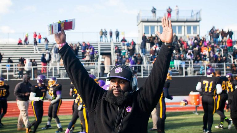 Ed Dunn's first season as head coach of the MLK High Cougars football team ended with a Thanksgiving Day win. (Brad Larrison/for NewsWorks)