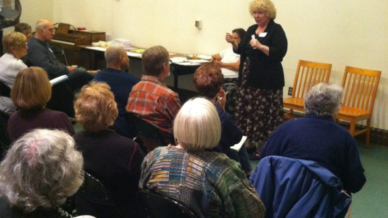Mutual Mt. Airy introduced membership plans and proposed services on Monday night. (Laura Benshoff/for NewsWorks)