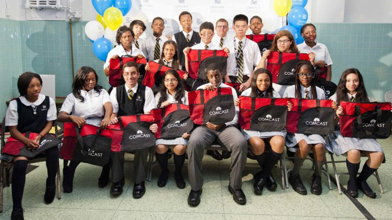 Students selected to work at Comcast through Cristo Rey High School.  (Meghan O'Neill/Courtesy of Cristo Rey High School)
