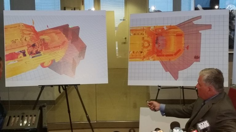 Attorney Robert Mongeluzzi displays high-tech renderings of a  duck boat's blind spot. (Tom MacDonald/WHYY)