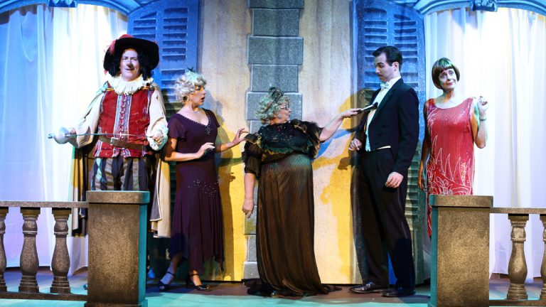 Cyrus Newitt, Ginna Hoben, Suzan Perry, Joseph Robinson, and Marianne Tatum are shown in a production of
