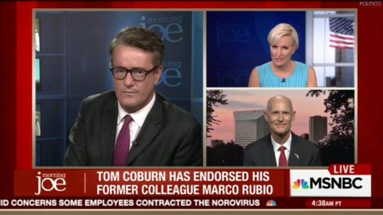 Screen capture of the march 10 broadcast of MSNBC's 'Morning Joe' with (clockwise from left) co-hosts Joe Scarborough and Mika Brzezinski
