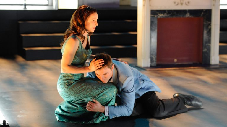 Mattie Hawkinson and Josh Carpenter as tormented siblings in Quintessence Theatre Group's production of