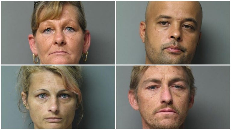 Ethel Melvin (top left) Shaughn Graves, Lauri Larlham, and Donald Melvin (in clockwise order) face desecration charges after allegedly selling brass urns from headstones for scrap. (DSP photos)