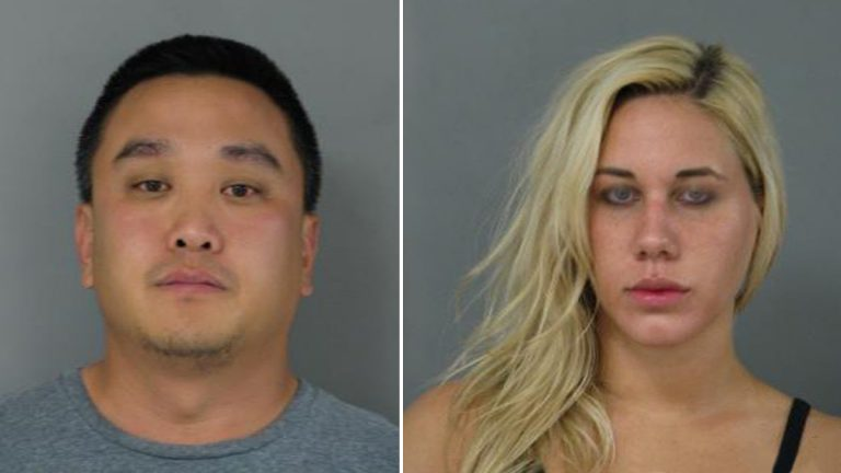 Michael Suh and Nicole Germack face charges including lewdness and indecent exposure. (photo courtesy Newark Police)