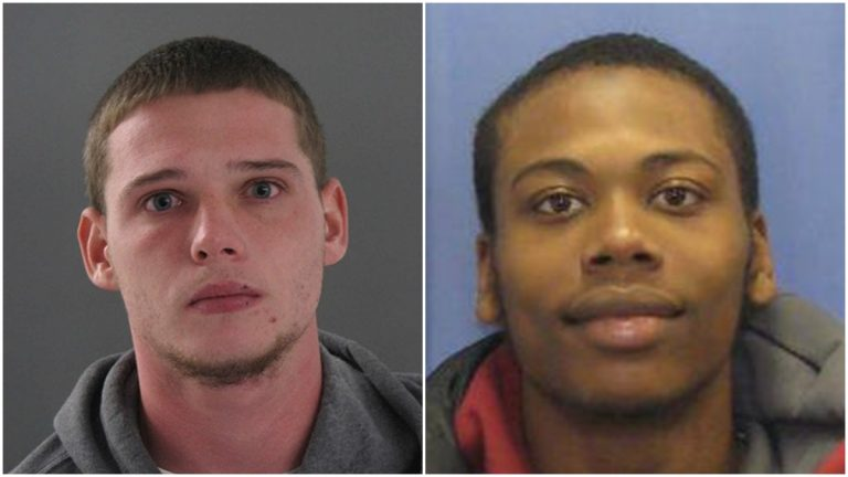 (From L) Matthew Harrington is in custody. Saleem Shabazz remains at large.