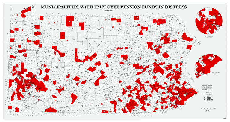 Pennsylvania's municipal pensions were running a $7.7 billion combined deficit last year. (map courtesy Auditor General's office)