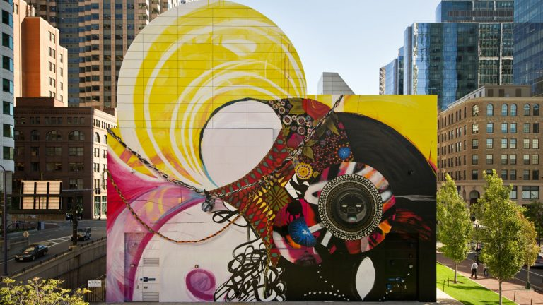 Open Source, a ground-breaking, outdoor citywide exhibition, features over 40 public events in the month of October and beyond as part of the City of Philadelphia Mural Arts Program. Pictured: Seven Moon Junction © 2014, The Greenway Wall at Dewey Square Park, Boston, MA , courtesy of James Cohan Gallery, New York and Shanghai, by Shinique Smith. Smith is one of the 14 artists participating in Open Source.