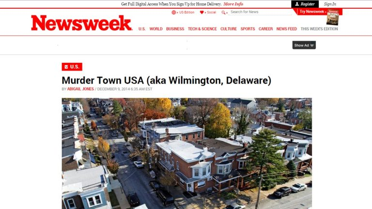 This screen grab shows the headline that's generated some controversy in Wilmington.