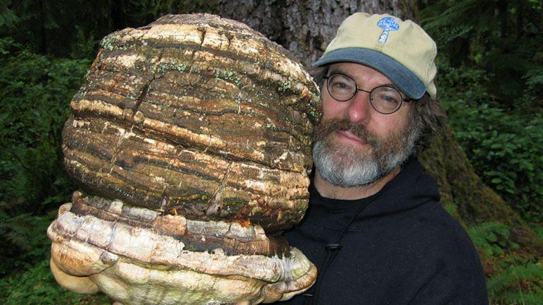 Paul Stamets holding an Agarikon mushroom (Photo courtesy of Dusty Yao)