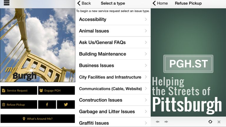 The myBurgh app lets users request service, check the trash and recycling schedule for their block, or just ask a question.