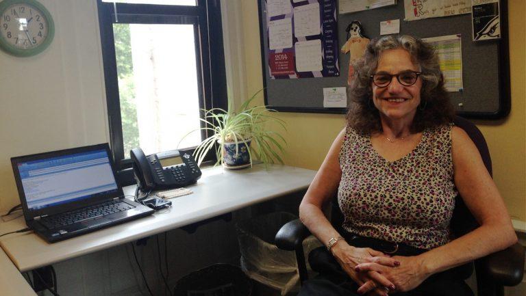 Nancy Peter in her office. (Michelle Barrett/for NewsWorks)