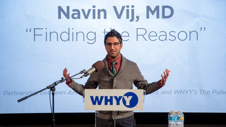 Navin Vij speaking at the Stories From The Heart story slam. (Dan Burke/for WHYY)