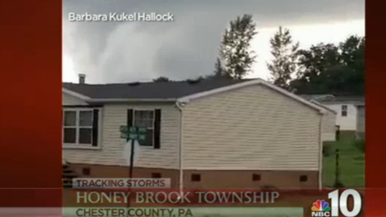 Forecasters confirmed the category EF-1 twister Wednesday after surveying damage in Honey Brook, about 40 miles northwest of Philadelphia.(Electronic image via NBC10)
