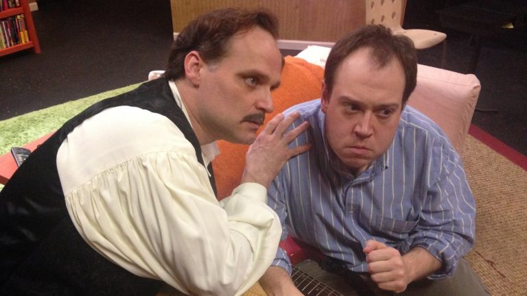 Sam Sherburne (right) portraying John W. Hinckley Jr., with Russ Widdall in New City Stage Company's world-premiere production of 'Hinckley' (Photo  courtesy of Ginger Dayle)