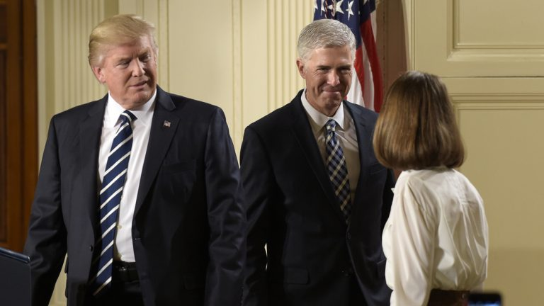 President Donald Trump announces 10th U.S. Circuit Court of Appeals Judge Neil Gorsuch as his choice for Supreme Court Justice during a televised address from the East Room of the White House in Washington