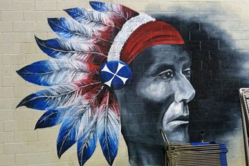 A mural of the Neshaminy High School mascot. (Eugene Sonn/WHYY)