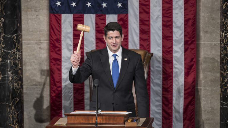 House Speaker Paul Ryan of Wis. holds the gavel after being re-elected to his leadership position during a ceremony in the House Chamber on Capitol Hill in Washington