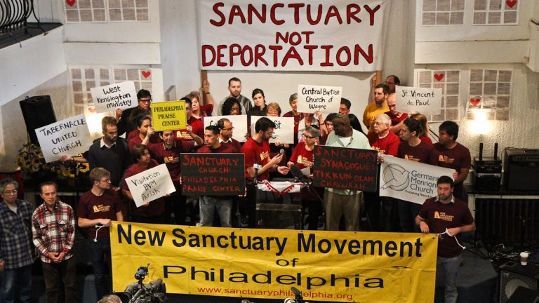 New Sanctuary Movement of Philadelphia joins nine cities to provide sanctuary to immigrants in civil disobedience. (Kimberly Paynter/WHYY)