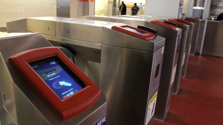 SEPTA swipe turnstiles at Dilworth Plaza. (Emma Lee/WHYY)