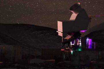 A photo of the first CLASS telescope observing the sky at night in the Atacama Desert in Chile. (Courtesy of Johns Hopkins University)