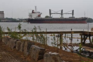 The Nikol H is a cargo ship that's been anchored in the Delaware for 16 weeks. (Kimberly Paynter/WHYY)