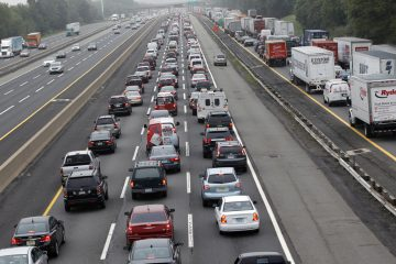 Cars and trucks are shown jammed on the southbound New Jersey Turnpike. (Mel Evans/AP Photo)