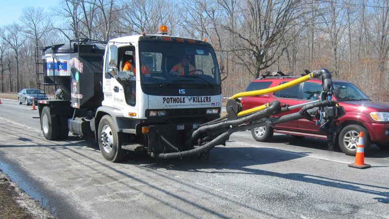 One of the New Jersey Department of Transportation pothole repair machines is at work. (NJDOT)