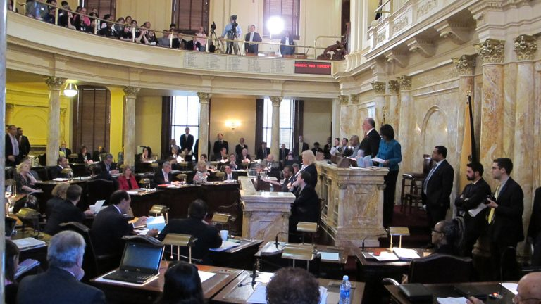 The New Jersey Senate votes to confirm Faustino Fernandez-Vina as the newest member of the state Supreme Court. (Phil Gregory/for NewsWorks)