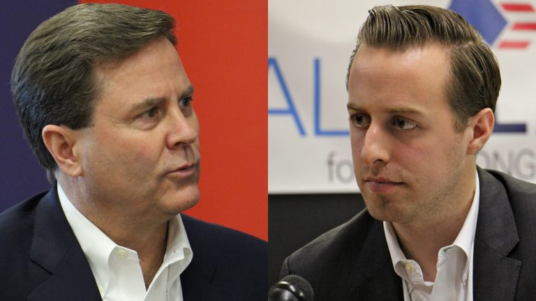 First-term Congressman Donald Norcross (left) is being challenged for the Democratic nomination by 25-year-old Alex Law. (Emma Lee/WHYY)