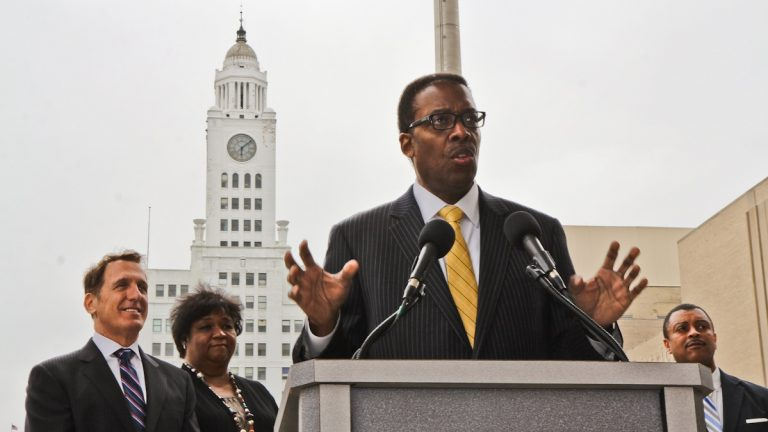 Council President Darrell Clarke announces the new name of North Broad Street: Avenue North Renaissance.  Clarke and others hope it will make the area more development friendly. (Kimberly Paynter/WHYY)