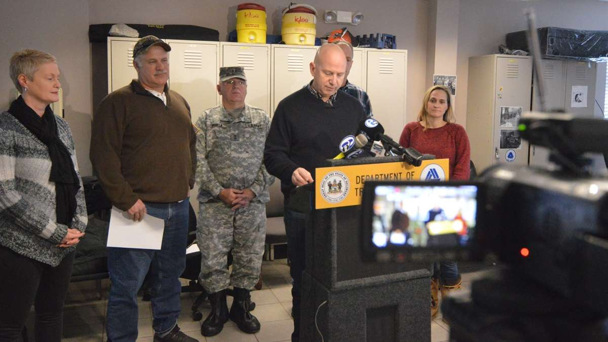 Governor Jack Markell, D-Delaware, updates the storm situation during  a DelDOT press conference. (John Jankowski/for NewsWorks)