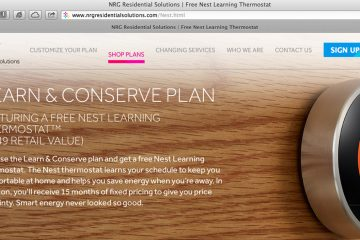 A screengrab from the NRG Residential Solutions web site featuring an image of the Nest Learning Thermostat.