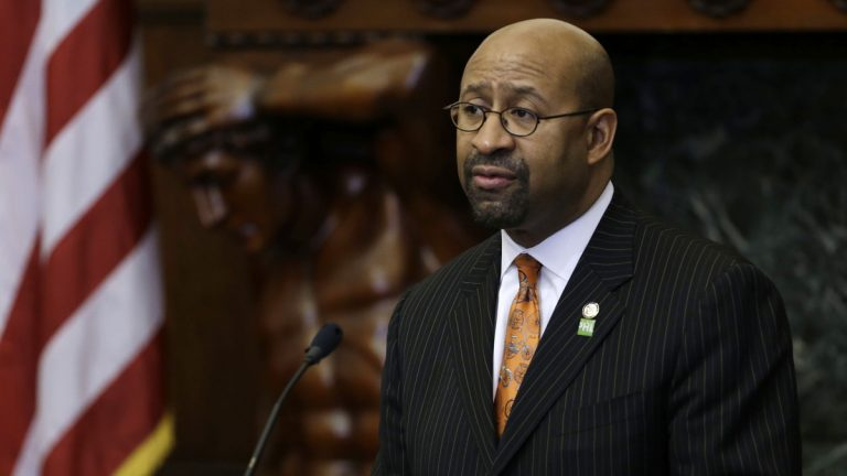 Mayor Michael Nutter is shown in the City Council chambers. (AP Photo/Matt Rourke)