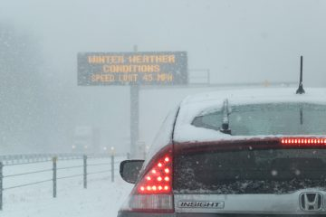 A sign announcing weather conditions seen from the southbound lanes of I-95, north of Street Road in Philadelphia, Pa., Jan. 21, 2014 (Alan Tu/for NewsWorks)