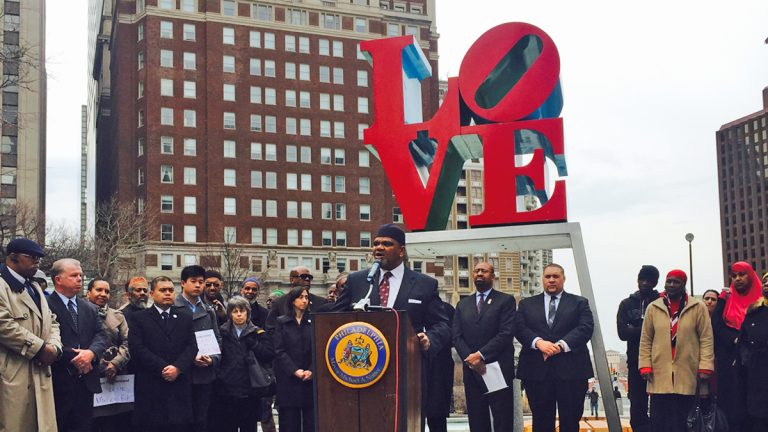 Imam Mikal Shabazz spoke out against blaming SEPTA for the ads, particularly targeting Muslim youth.(Bobby Allyn/WHYY)