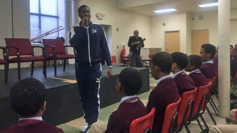 Meek Mill delivers his message to students at Boys' Latin of Philadelphia Charter School. (Bobby  Allyn/WHYY)