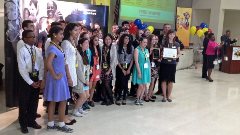 Some of Tuesday's winners: The team from Baldi Middle School. (Bill Hangley/WHYY)