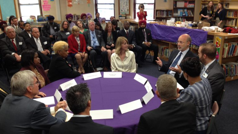 Gov. Tom Wolf talks to educators and residents about his proposed budget at Stonehurst Hills Elementary School in Upper Darby, Pa. (Bill Hangley/WHYY)