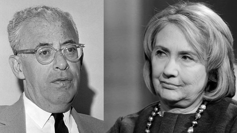 Saul Alinsky a community organizer, in his Chicago office, Sept. 1968, (left) and Former Secretary of State Hillary Rodham Clinton in New York, Sept. 22, 2014 (Larry Stoddard and Mark Lennihan/AP Photos)