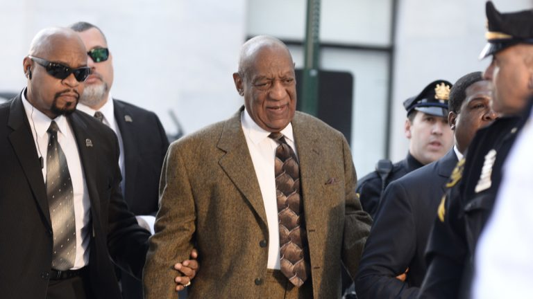 Bill Cosby is escorted to a court appearance at the  Montgomery County Court House in Norristown, Pa. (Bastiaan Slabbers/for NewsWorks)
