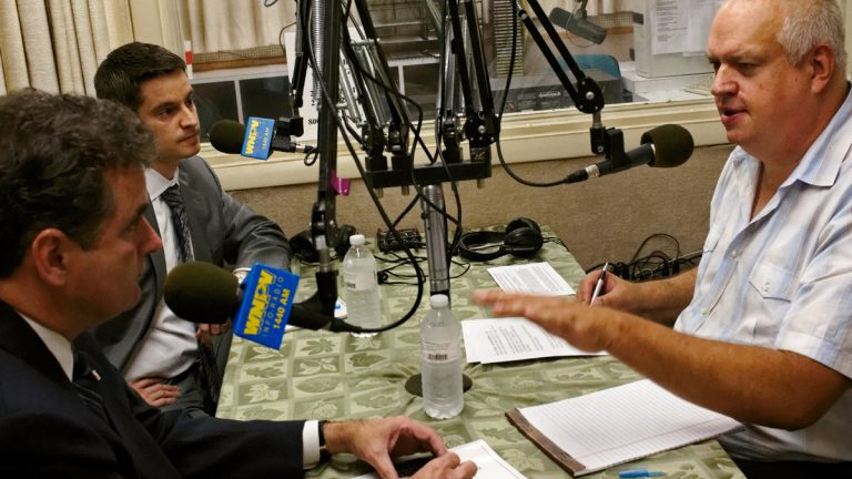 Incumbent Michael Fitzpatrick (R) and opponent Kevin Strouse (D) debate on air at the WNPV-AM in Lansdale. (Bas Slabbers/for NewsWorks)