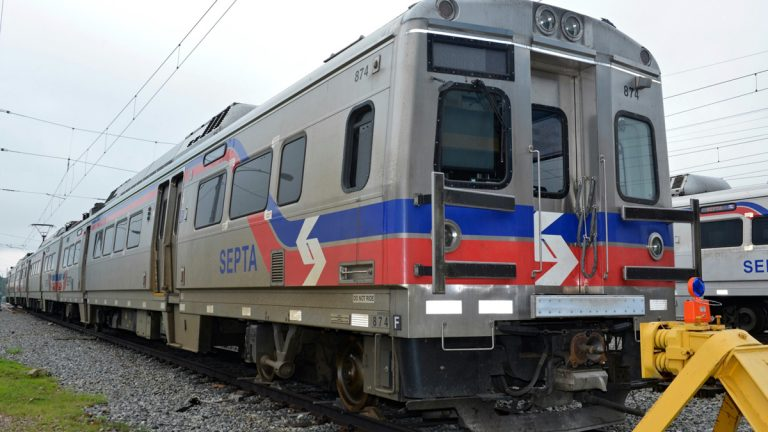 Some SilverLiner V-s are stationed outside SEPTA Overbrook Maintenance Facility