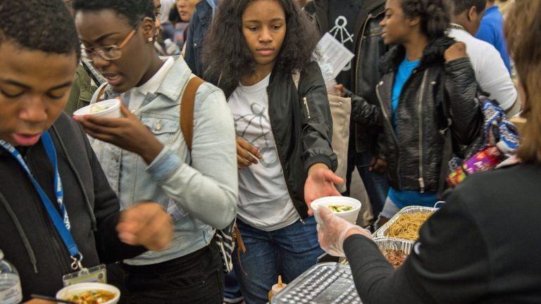 High school students from 7 Philadelphia high schools participate in the first annual student-tested food show where vendors showcase different options for their lunch menu. (Emily Cohen for NewsWorks)