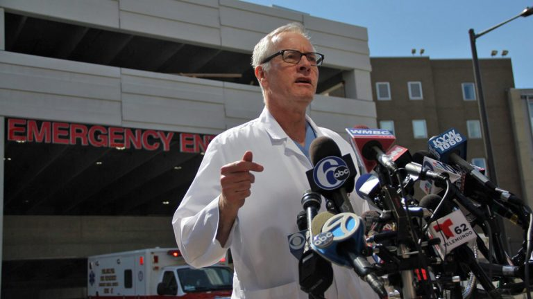 Dr. Herb Cushing identifies the derailment victim who died at Temple University hospital as a 49-year-old Princeton man. He expects the remaining eight critical patients will survive. 'Things could have been a lot worse,' he said.The victim's name was James Marshall Gaines III. (Emma Lee/WHYY)